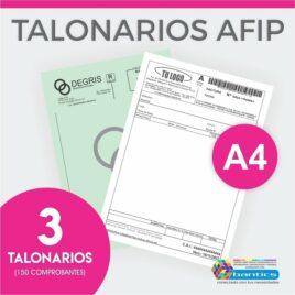 TALONARIO AFIP A4 FA FB FC RR X 03