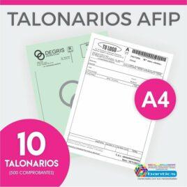 TALONARIO AFIP A4 FA FB FC RR X 10