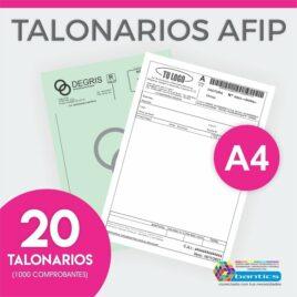 TALONARIO AFIP A4 FA FB FC RR X 20